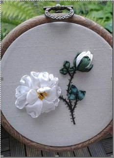 Toni's rose - ribbonwork